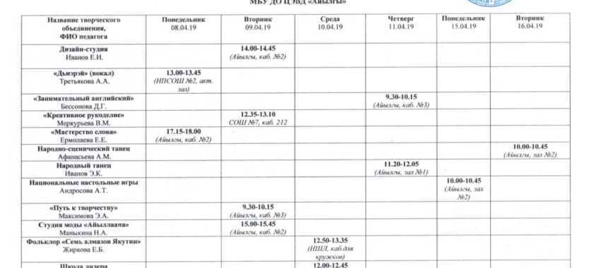 Открытые занятия педагогов МБУ ДО ЦЭВД «Айылгы» с 8.04.19г. по 16.04.19г.